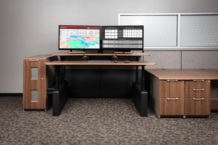 Xybix Adjustable Height Workstation with two monitors