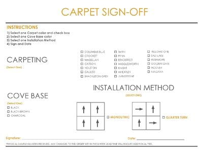 2021 Eagle Line Finish Brochure with Carpeting Sign Off