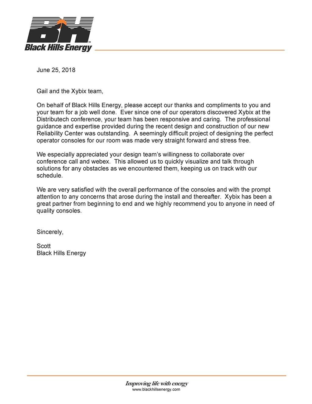 Black Hills Energy - Xybix Reference Letter