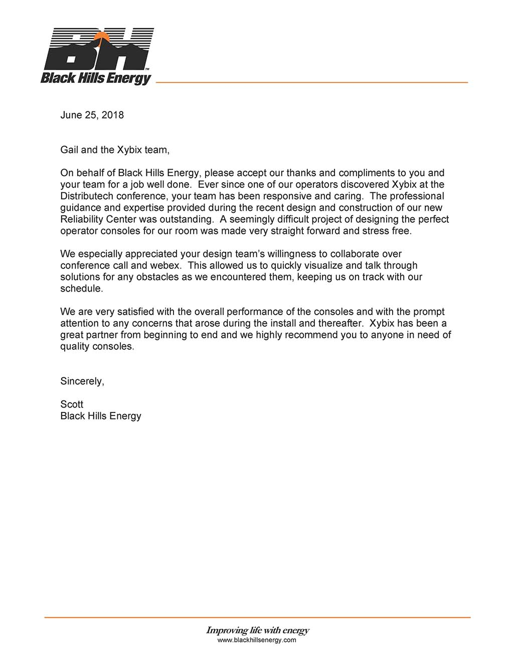 Black Hills Energy - Xybix Reference Letter