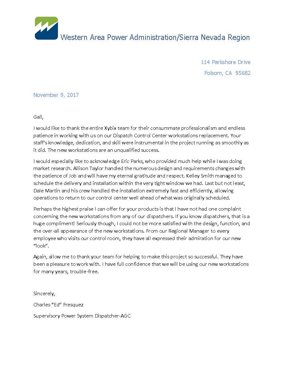 Letter from WAPA Folsum CA