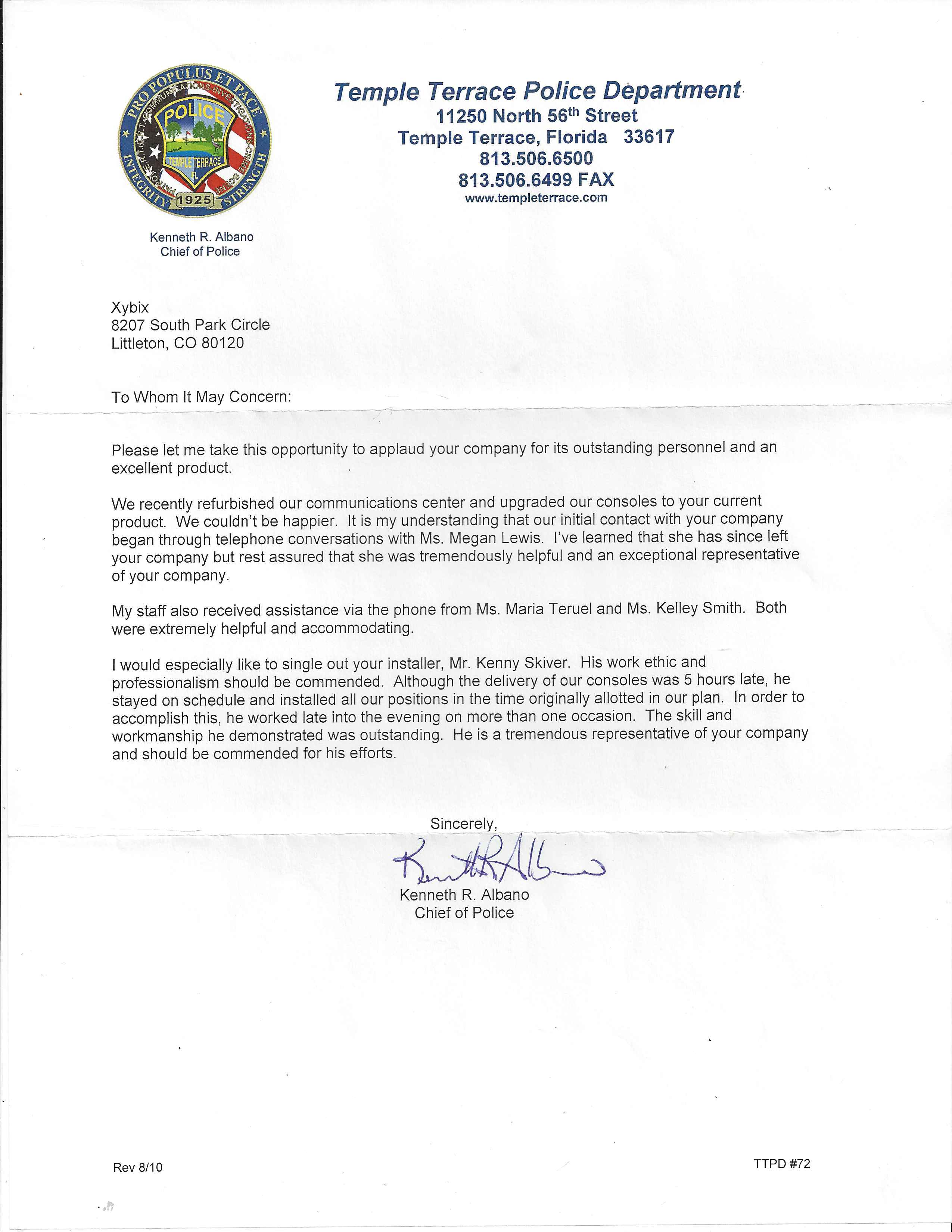 Temple Terrace Police Department Letter