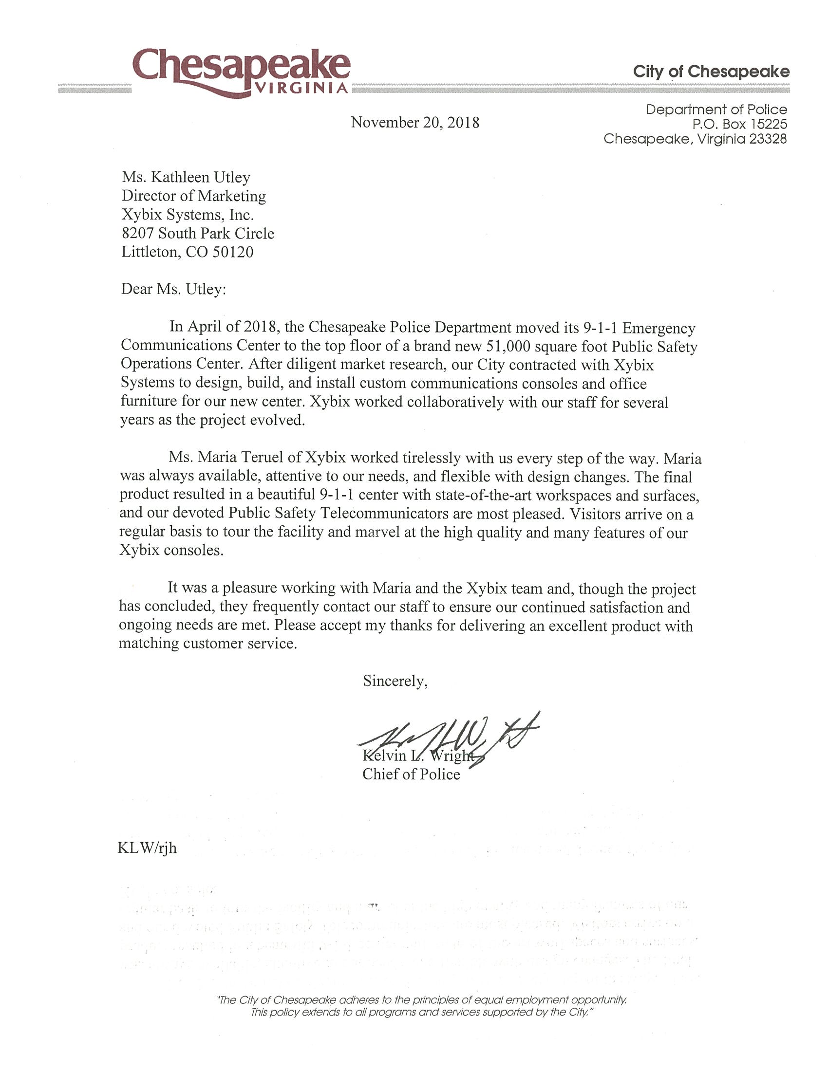 City of Chesapeake Police - Testimonial Letter