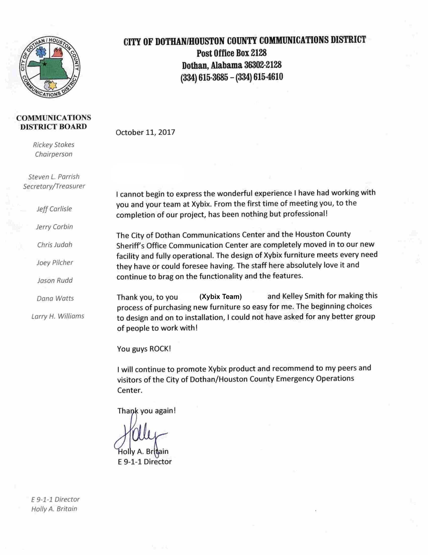 Dothan Testimonial Letter